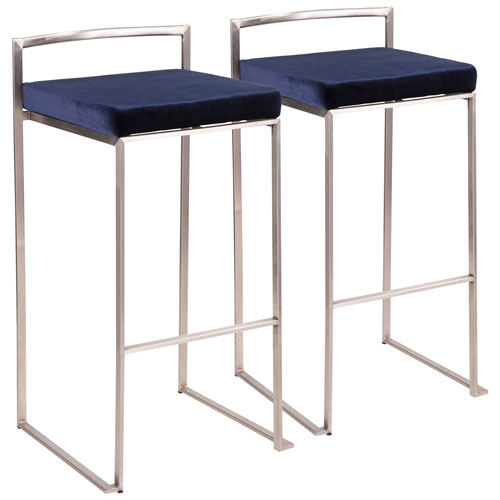Fuji Stainless Steel and Blue 34-Inch Bar Stool, Set of 2