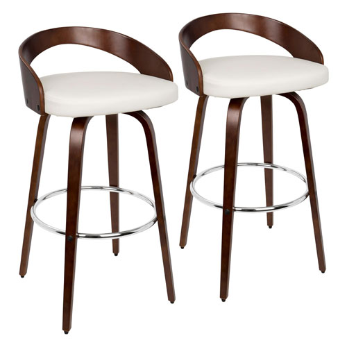 Grotto Cherry Wood, White and Chrome 35-Inch Swivel Bar Stool, Set of 2