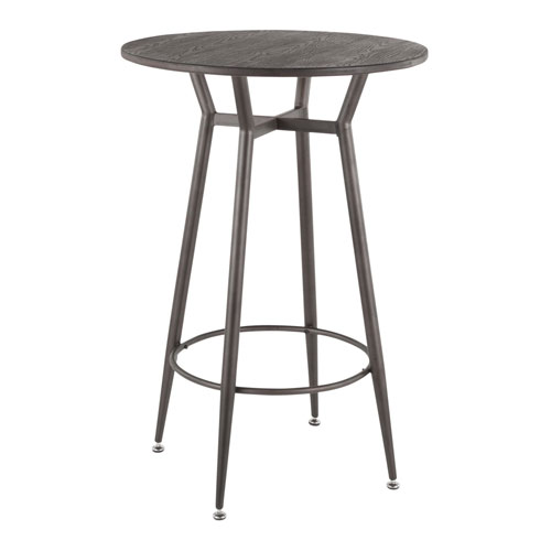 Clara Antique and Espresso Round Bar Table
