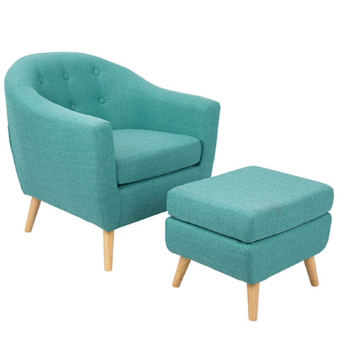 Rockwell Teal Chair with Ottoman