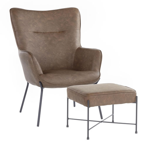 Izzy Black and Espresso Chair with Ottoman