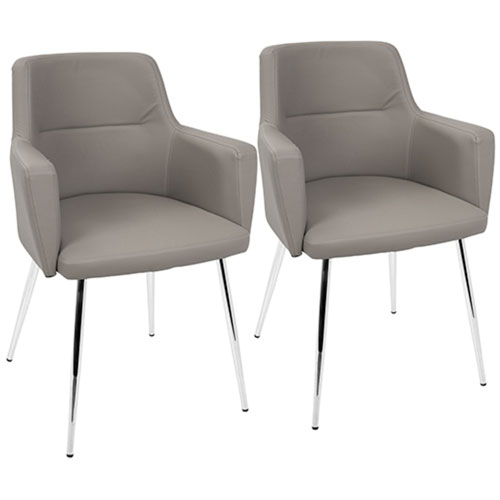 andrew Gray and Chrome Arm Dining Chair, Set of 2