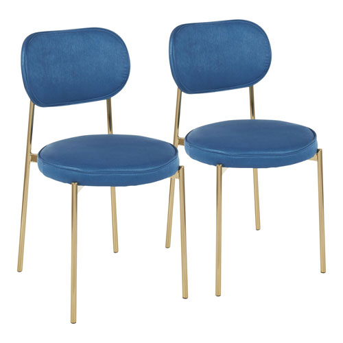 Chloe Gold and Blue Satin Dining Chair, Set of 2