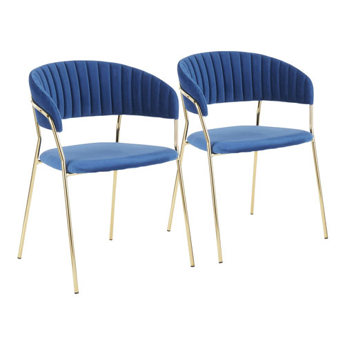 Tania Gold and Blue Arm Dining Chair, Set of 2