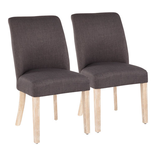 Tori White Washed Wood and Gray Dining Chair, Set of 2