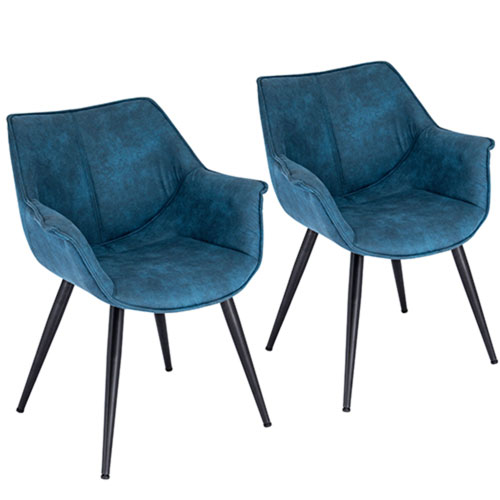 Wrangler Black and Blue Arm Dining Chair, Set of 2