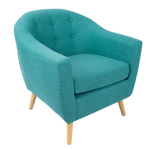 Rockwell Natural Wood and Teal Arm Accent Chair