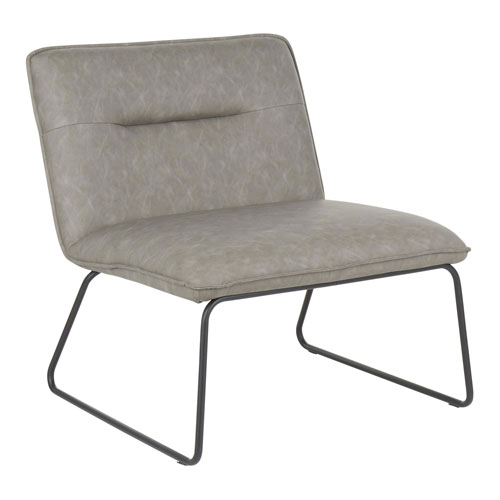 Casper Black and Gray Armless Accent Chair