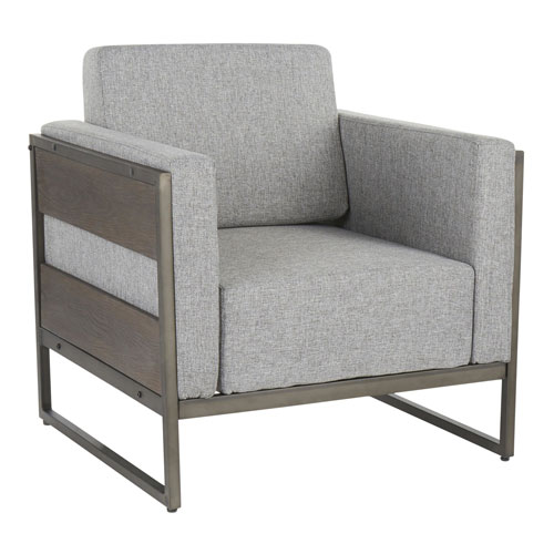 Drift Antique, Espresso Wood and Gray Arm Accent Chair