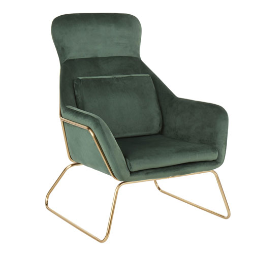 Penelope Gold and Green Arm Accent Chair