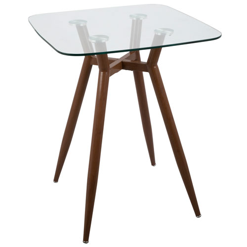 Clara Walnut and Clear Glass Square Counter Table