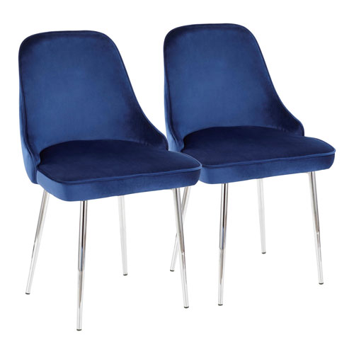 Marcel Chrome and Navy Blue Dining Chair, Set of 2
