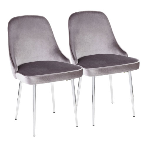 Marcel Chrome and Silver Dining Chair, Set of 2