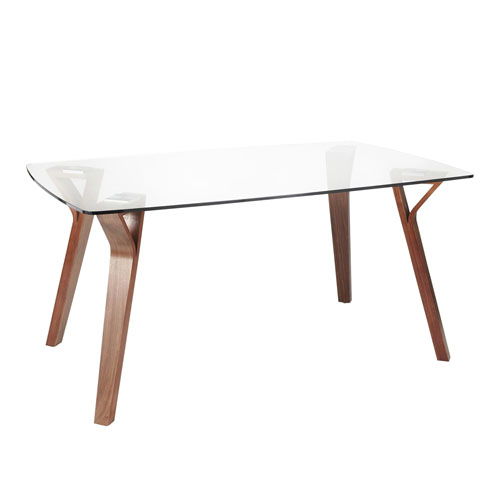 Folia Walnut Wood and Clear Glass 38-Inch Dining Table