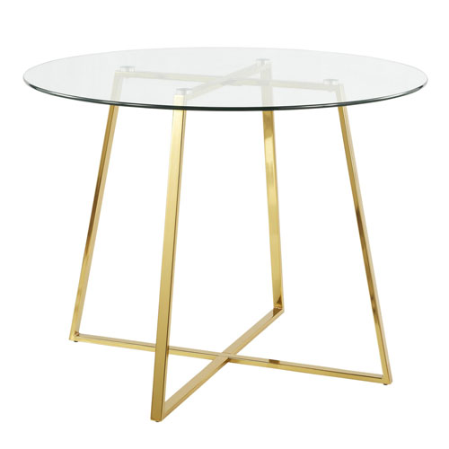 Cosmo Gold and Clear Glass 40-Inch Dining Table