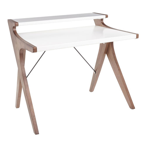 Archer Walnut Wood and White Wood Writing Desk