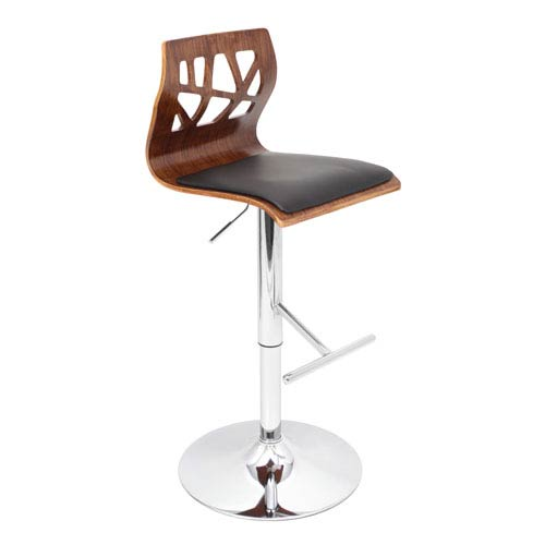LumiSource Folia Barstool Walnut and Black