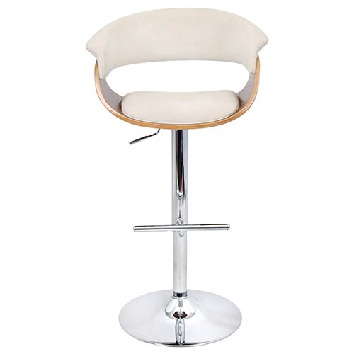 Mod Walnut and Cream Vintage Barstool