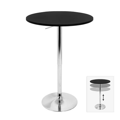 Adjustable Bar Table with Black Top