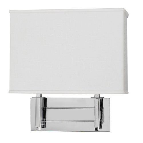 Taylor Chrome 12-Inch Sconce with White Linen Acrylic