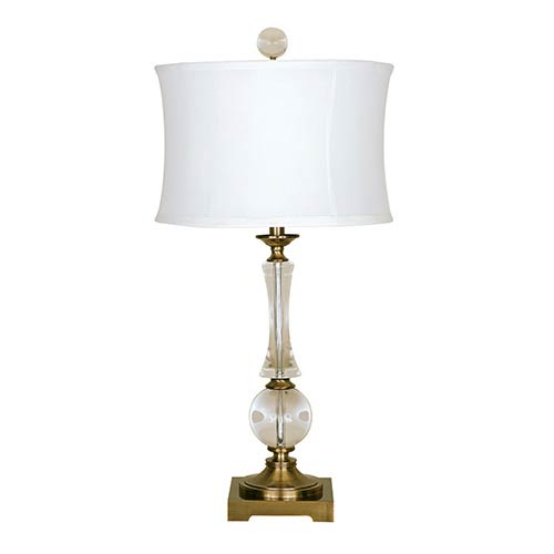 Mario Industries Antique Brass One-Light Solid Crystal Table Lamp