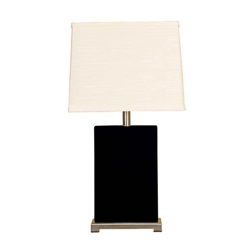 Black One-Light Ceramic Block Table Lamp