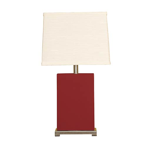 Burgundy One-Light Ceramic Block Table Lamp