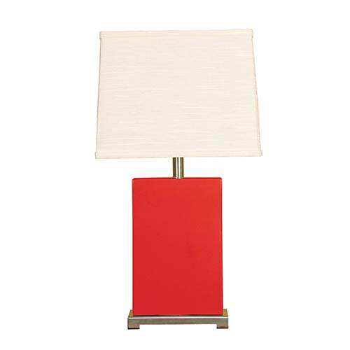 Red One-Light Ceramic Block Table Lamp