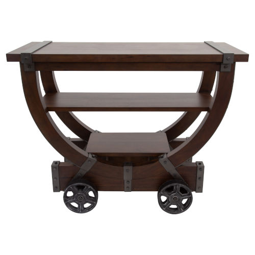 Deep Mahogany Brown and Brushed Metal Accents Gavin Cart