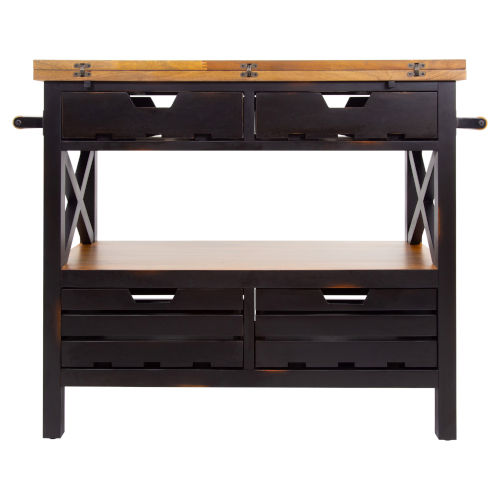 Antique Black and Light Mahogany Cassidy Kitchen Island and Black
