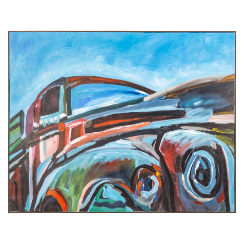 Multicolor Hand Made Acrylic Painting Horizontal Jeds Lorry Decorative Art, 50 W x 2 D x 40 H