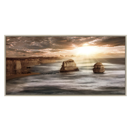 Brown White and Blue 60-Inch Ethereal Peace Landscape