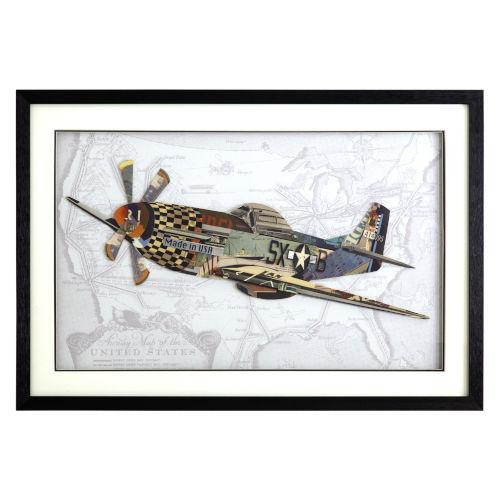 Multicolor 3D Art Collages Horizontal British Spitfire Decorative Art, 36 W x 2 D x 24 H
