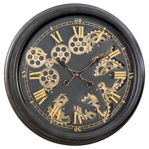 Black and Gold 21-Inch Paris Gear Clock