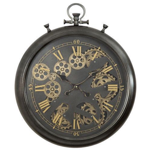 Black and Gold 23-Inch Gear Clock