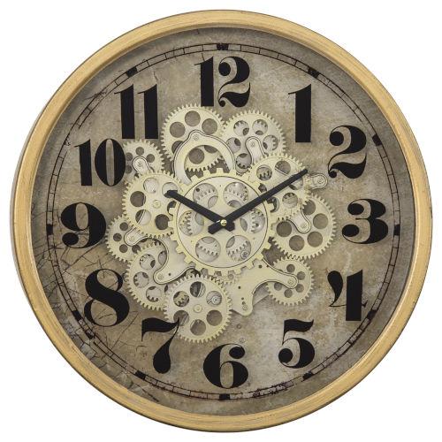 Copper off-White and Black 18-Inch Round Gear Clock