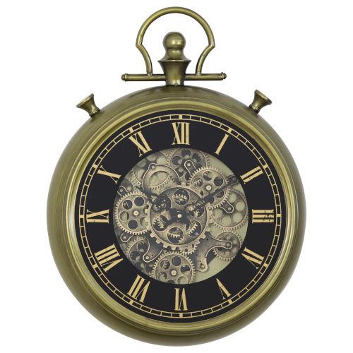 Black Gold 18-Inch Open Gear Clock