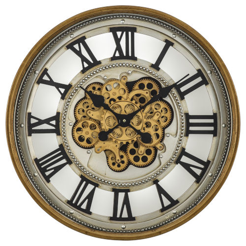 Gold Silver and Black 24-Inch Gold Gear Clock