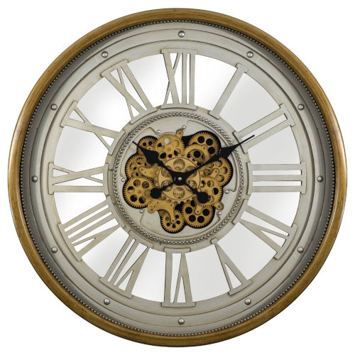 Gold and Silver 32-Inch Gear Clock