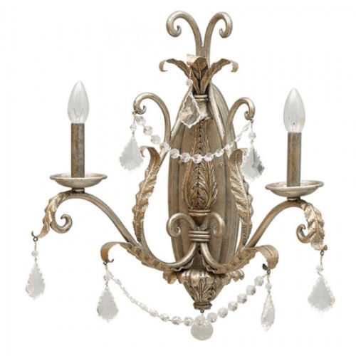 Swag Caribbean Gold with Faceted Crystal Two-Light Wall Sconce