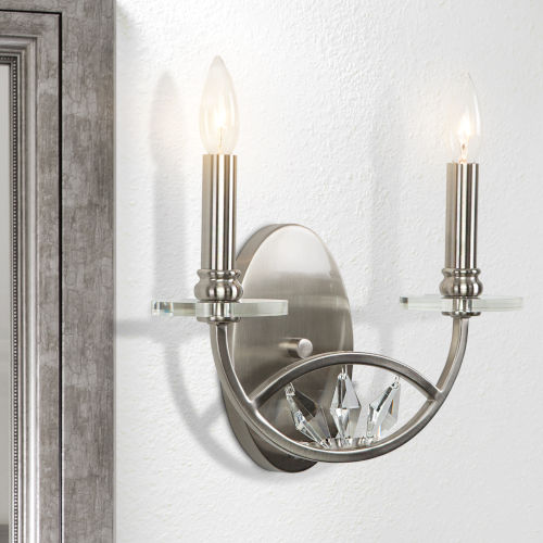 Cascade Polished Nickel 13-Inch Two-Light Wall Sconce