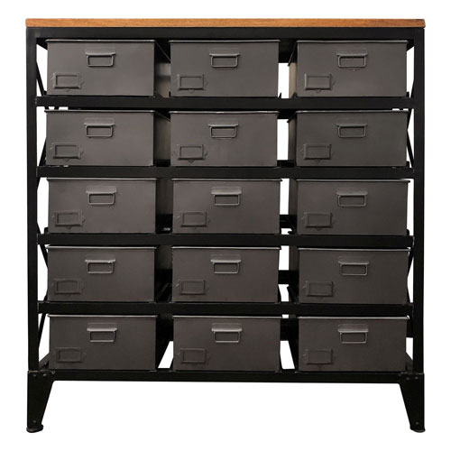Deep Gray and Brown Wood Cabinet