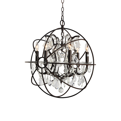 Brenita Rustic Brown Six-Light Chandelier
