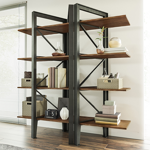 Bethel Park Graphite Grey and Brown Bookcase