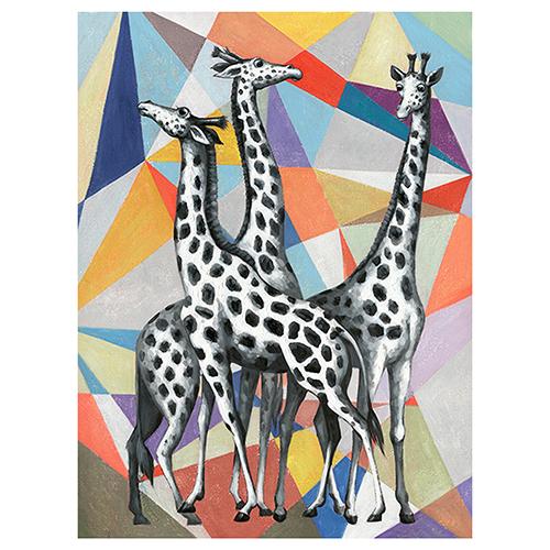 Contemporary View of Giraffes Canvas