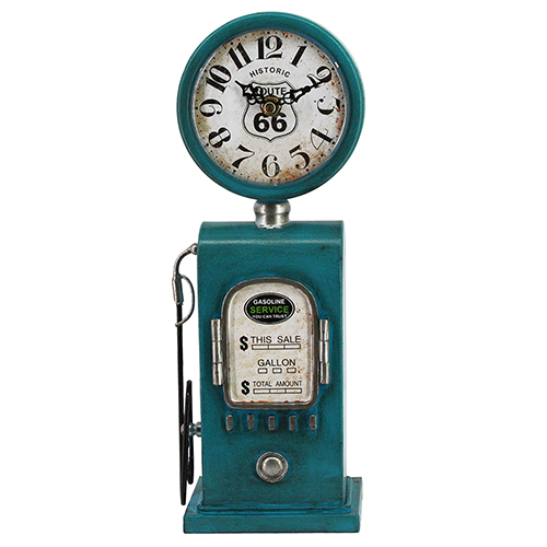 Route 66 Distressed Blue Table Top Clock