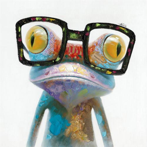 Yosemite Home Decor Hipster Froggy: 40 x 40 Hand Painted Canvas Wall Art