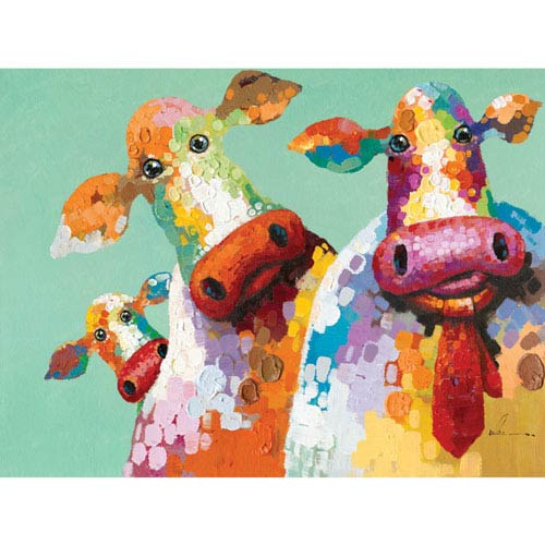 Yosemite Home Decor Curious Cows I 48 X 36 Inch Wall Art Artac0583c