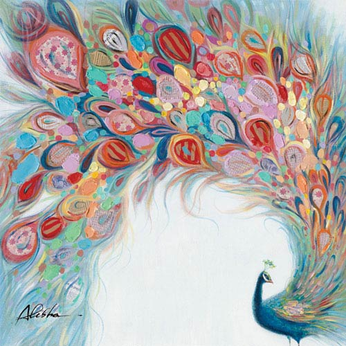 Peacock Flourish: 48 x 48-Inch Wall Art
