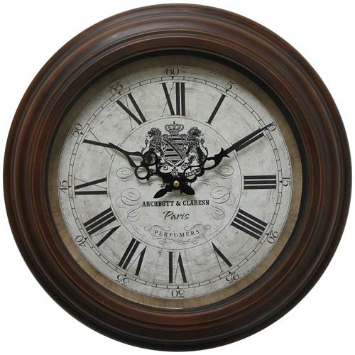 Brown and Tan 17-Inch Wall Clock with Distressed Iron Frame